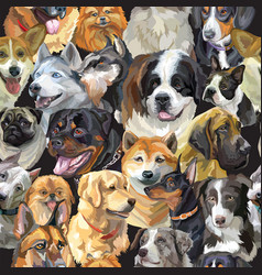 seamless cute realistic dogs heads vector image