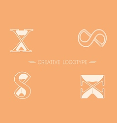 Set creative logos typography and hourglass vector image