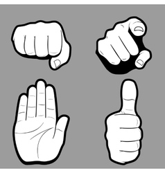 set hands in many and different gesture vector image