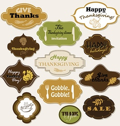 Set of 12 isolated Thanksgiving frames and labels vector image