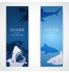 Set of banners with sharks vector image