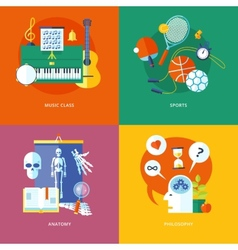 Set of flat design concept icons for school and vector