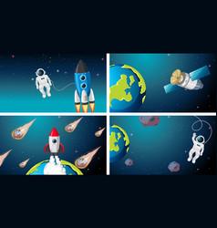 Set rocket astronaut and satellite scne vector