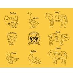 Set Schematic Vew of Animals for Butcher Shop vector image