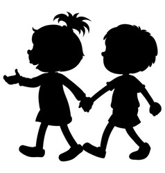 Silhouette boy and girl holding hands vector