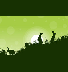 Silhouette of rabbit and egg scenery vector