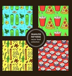 Sketch food pattern in vintage style vector image
