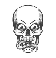 skull with eyes and tongue sticking out vector image