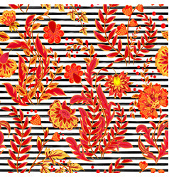 striped seamless pattern hand draw floral vector image