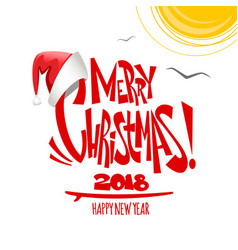 summer merry christmas lettering vector image