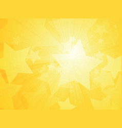 sun rays and stars yellow background vector image