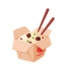Takeaway carton box noodles with meat vector
