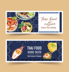 Thai food banner design with green curry shrimp vector