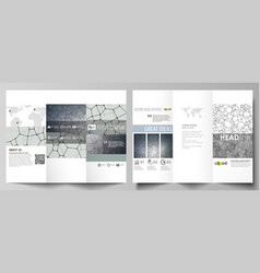 Tri-fold brochure business templates on both sides vector