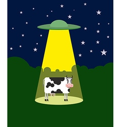 UFO abducts a cow Space aliens and cattle Flying vector image