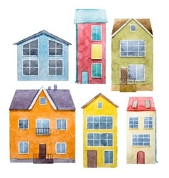 Watercolor hand drawn houses vector