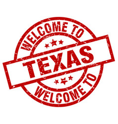 welcome to texas red stamp vector image
