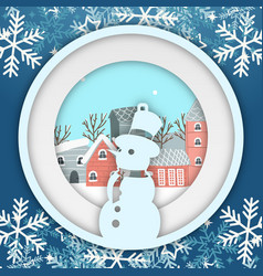 Winter snowflake snowman circle photoframe vector