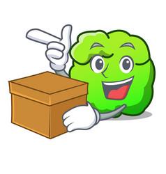 With box shrub character cartoon style vector