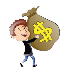 young man holding a sack of money vector image