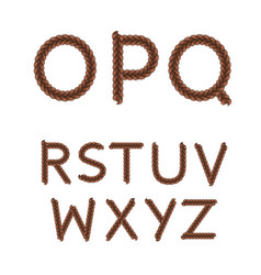 alphabet from braids letters from o to z vector image