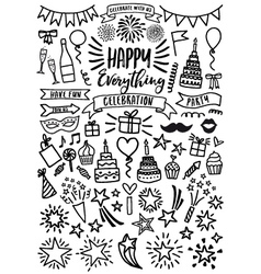 Celebration party birthday set vector