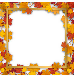 golden frame in autumn maple foliage vector image vector image