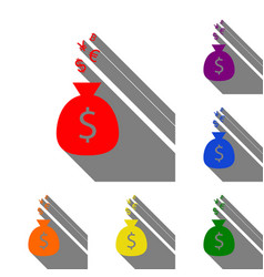 money bag sign with currency symbols set of red vector image vector image