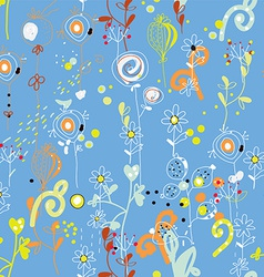 Seamless floral repeat pattern in blue colors vector image vector image