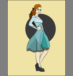 the girl in the blue dress vector image
