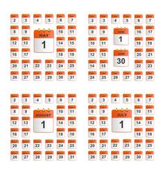 universal set of wall calendar vector image vector image