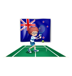 A tennis player in front of the flag of New vector image