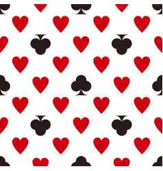 Card suit pattern hearts and clubs seamless vector