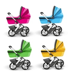 colored strollers for baby boys and baby girls vector image