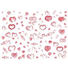 doodle red hearts seamless pattern background vector image