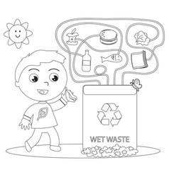 wet waste recycling coloring game vector image vector image