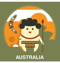 Australian Aborigine in Flat Style vector image