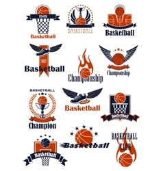 Basketball Championship or sporting club emblems vector image vector image