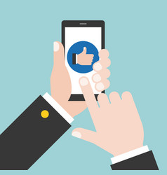 business hand give like on phone vector image