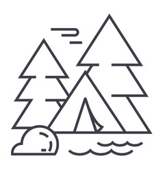 camping tent in forest line icon sign vector image