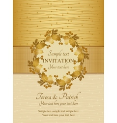 Christmas invitation gold and beige vector image vector image