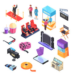 cinema isometric set vector image