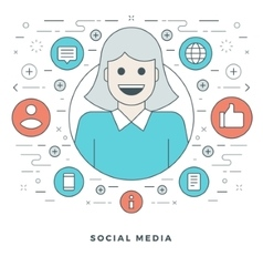 Flat line Social Media Concept vector image