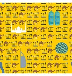 Landmarks In UAE and camels oil pumps in desert vector image