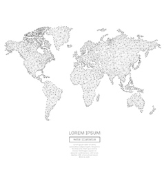 Abstract world map with low poly gray vector image vector image
