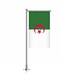 Algeria flag hanging on a pole vector image vector image