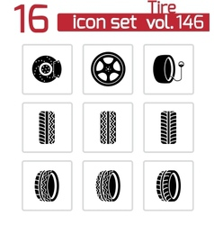 black tire icons set vector image vector image