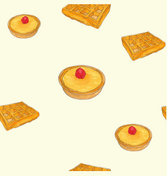 creme brulee tart and waffle sketch pattern vector image vector image