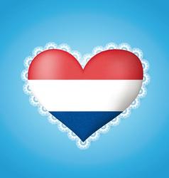 Heart shape flag of holland vector