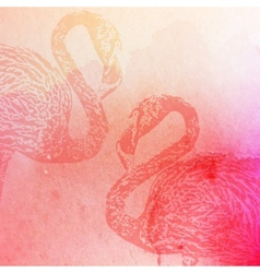vintage of pink watercolor flamingos on the vector image vector image